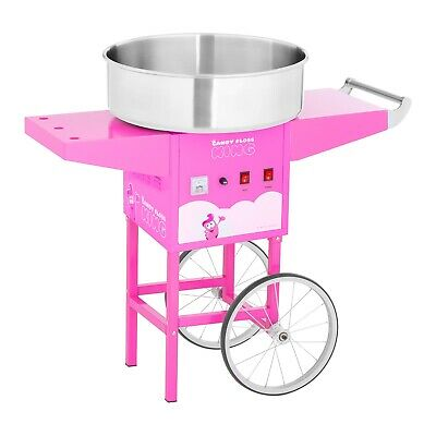 Commercial Candy Floss Machine Cotton Candy Maker With Cart Spit Protection Pink