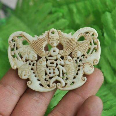 Chinese ancient old hard jade hand-carved pendant necklace ~Blessing M29
