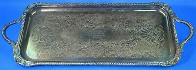 Silverplate Sheffield Serving Tray, Handles, Feet, Engraved