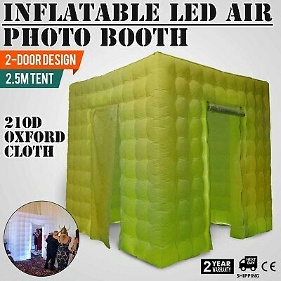 2 Door Inflatable LED Air Pump Photo Booth Tent 2.5M Spacious Oxford Fabric