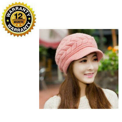 Beanie Cap Winter Warm Pink Slouchy Knitted Plush Wool Thick For Women Girls