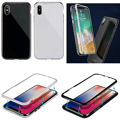 Ultra Thin Magnet Adsorption Metal Frame Tempered Glass Back Cover iPhone X 7 8
