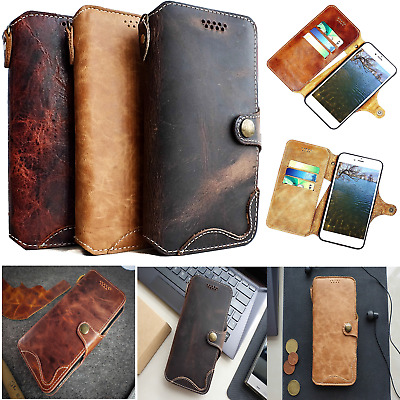 NEW iPhone XS Max XR 7/8 Luxury Handmade Real Genuine Leather Wallet Flip Cover