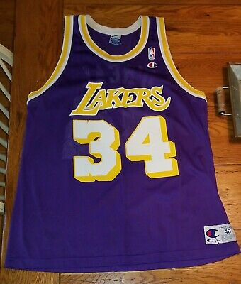 933e65b68ad Vintage NBA Champion Jersey Shaquille O'Neal Shaq LOS ANGELES Lakers Size 48