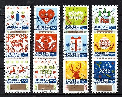 France - French - 2018 - Christmas Greetings - Fu - Full Set Of 12 Stamps