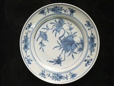Exquisite Chinese Antiques Blue And White Peaches Porcelain Landscape Plate Mark