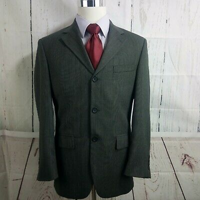 Andrew Fezza 38S 3 Button Gray Black Herringbone Suit Blazer Sports Coat