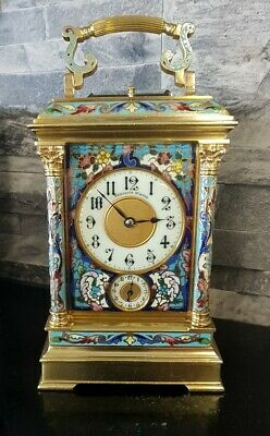 Stunning French Grande Sonnerie Cloisonne/Champleve Carriage clock C1870