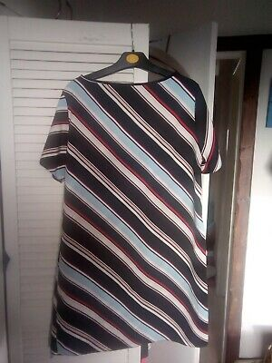 Primark Black Dress With Blue, Red, Pink & White Stripes Size 14