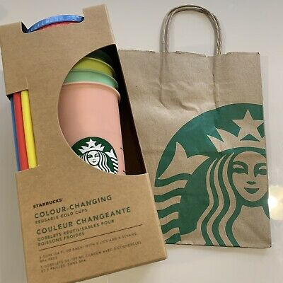 NEW Starbucks 2019 Color Changing Reusable Cold Cup Tumblers 5 Cups Venti 24oz