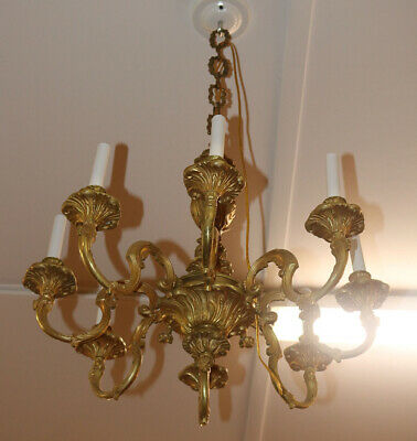 Superb French Victorian Louis XV Bronze Chandelier Lamp Light C 1910
