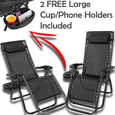 2x Zero Gravity Folding Lounge Garden Chairs Garden Deck Set Outdoor Adjustable