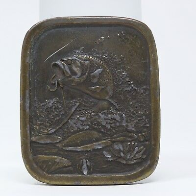 Indiana Metal Belt Buckle Mens Bass Fishing Crafted 1976 Brass Tone Vintage A97