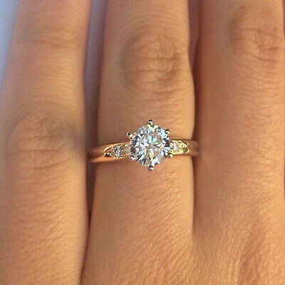 10K Solid Yellow Gold 1.5ct Round Diamond Solitaire Engagement Wedding Ring