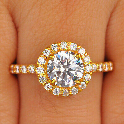 10K Solid Yellow Gold Awesome Round Shape 2.90 Carat Solitaire Engagement Ring