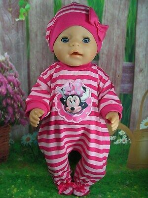 """Dolls clothes for 17"""" Baby Born doll~MINNIE MOUSE PINK STRIPE JUMPSUIT & HAT"""