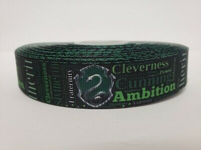 """Harry Potter, Hogwarts House, Slytherin, Grosgrain Ribbon 1"""" By the yard NEW"""