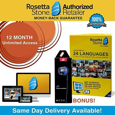 Rosetta Stone® UNLIMITED ACCESS Full Course 12 month Free Headset Pick Language