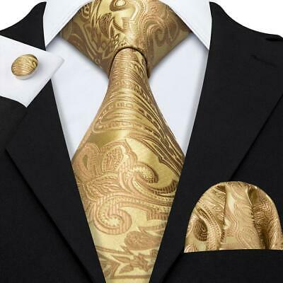 USA Yellow Gold Paisley Tie Set Mens Silk Necktie Pocket Square Cufflinks Party