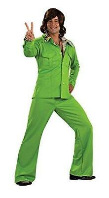 Funky60's 70's Mens Lime Green Leisure Suit Costume, Retro Disco, Standard