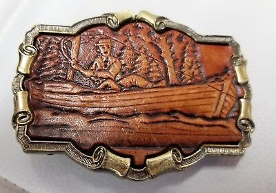 Great American Buckle Co., Brass w/Leather Fisherman. Copyright 1980