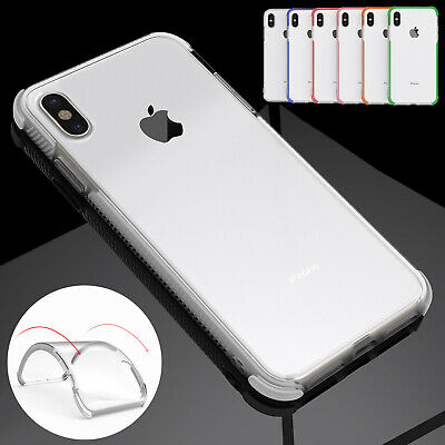 For iPhone XS Max XR X 8 7 6s Clear Shockproof Soft Rubber TPU Bumper Case Cover