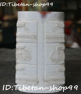 "4""Ancien Liangzhu Culture Old Jade Dragon Pixiu Beast Ox Head Yu Cong Jade Congs"