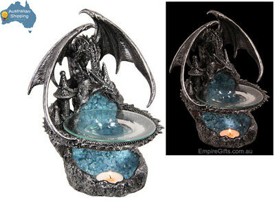 1 x 23cm Dragon Statue Guarding Castle Silver Oil Burner Wax Melts GOT
