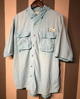 b4fbc4ef WORLD WIDE SPORTSMAN FISHING SHIRT BUTTON FRONT SHORT SLEEVE BLUE MENS Sz XL