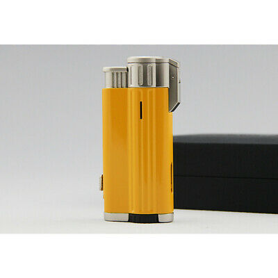 COHIBA Alloy Metal 3 Torch Jet Flame Cigarette Cigar Lighter With Punch Yellow