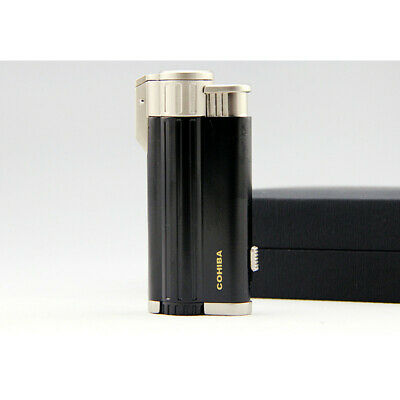 COHIBA Alloy Metal 3 Torch Jet Flame Cigarette Cigar Lighter With Punch Black