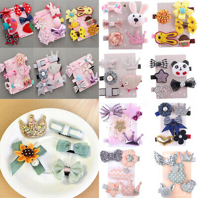 5/6Pcs Baby Hair Clips Girls Kids Flowers Hair Clip Bow Hairpin Barrette Clips