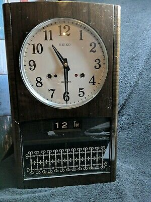 Vintage Seiko Wooden Cased 30 Day Chiming Mechanical Pendulum Wall Clock Working