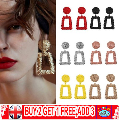 Fashion Punk Jewelry Geometric Dangle Drop Earrings Metal Statement Big Gold C