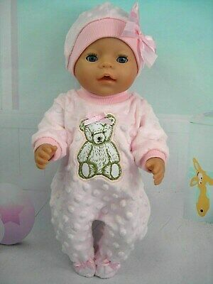 "Dolls clothes for 17"" Baby Born doll~ SOFT PINK TEDDY BEAR BOBBLE JUMPSUIT~HAT"