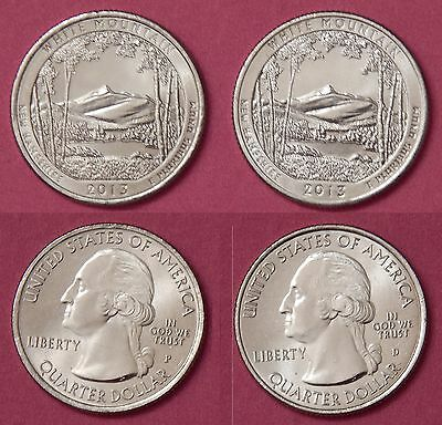 Brilliant Uncirculated 2013 P & D US White Mountain 25 Cents From Mint's Rolls