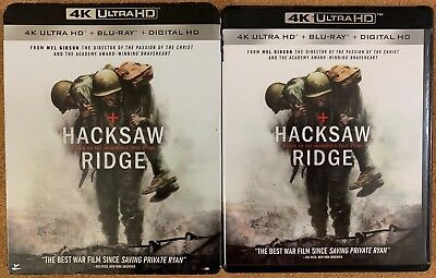 Hacksaw Ridge 4K Ultra Hd Blu Ray 2 Disc Set + Slipcover Sleeve Free Shipping