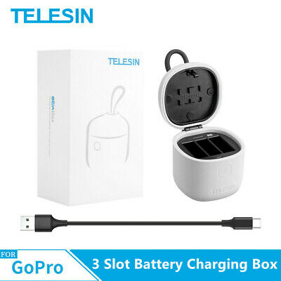 TELESIN ALLIN BOX 3 Slot Battery Charging & SD Card Storage For Gopro Hero 7 6 5