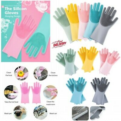1 Pair Magic Silicone Rubber Dish Washing Gloves 2 in1 Scrubber Cleaning Dirt UK