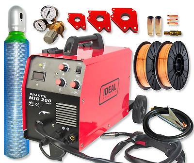 Welding machine 200Amp Welder inverter MIG FCAW-GASLOS IGBT FULL BOTTLE Ar / CO2