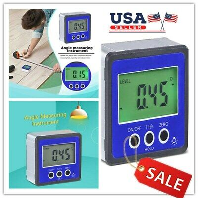 Digital LCD Inclinometer Level Box Protractor Angle Finder Gauge Meter Bevel USA