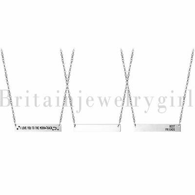 """Women's Stainless Steel ID BFF Name Bar Pendant Stainless Steel Necklace 18""""-20"""""""