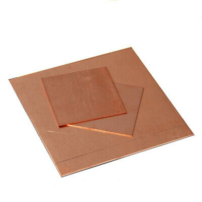 """1-2mm T2 Pure Red Copper Sheet Solid Metal Plate Electrode Anode 2""""x2"""" 4""""x4"""" UK"""