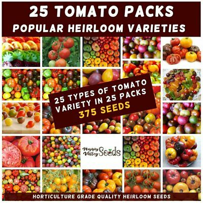 TOMATO Heirloom Mix 375 Seeds 25 PACKS Mixed EASY VEGETABLE GARDEN SPRING SUMMER