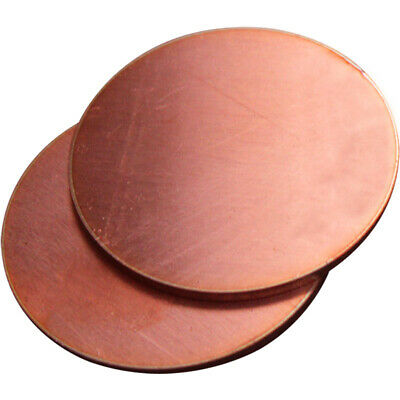 Thick:1mm OD: 20-100mm Solid Pure Red Copper Discs Blanks Round Plate Sheet UK