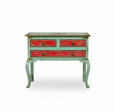 Indian Handmade Antique Style Wood Console Table Storage Chest Of 3 Drawers