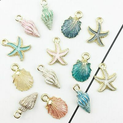 13 Pcs/set Mixed Conch Sea Shell Pendant Charms Jewelry Making Accessories DIY