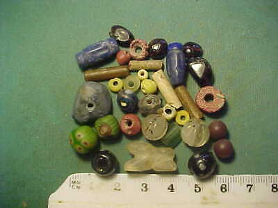 30+ ancient beads circa 1000 BC-1700 AD + An Egyptian crystal lion amulet
