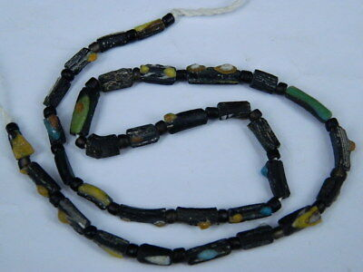 Ancient Mosaic Glass Fragment Beads Strand Roman 200 BC #BE5101