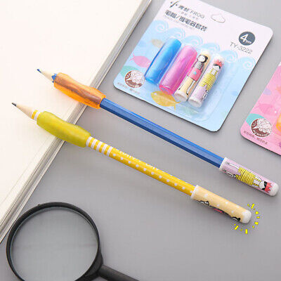 1Set Pen Pencil Grip With Cap Special For Left&Right Hand Kids Handwriting Aid